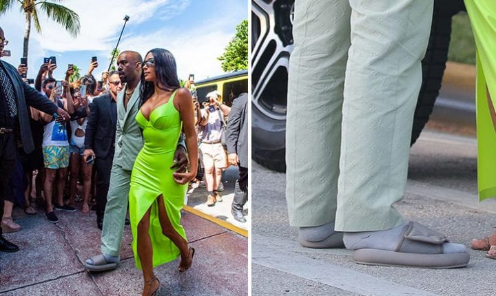 Kanye West Wears A Pair Of Kiddie Yeezy Slides To 2 Chainz' Wedding